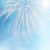 Fuoco d'artificio variopinto sul fondo blu del bokeh Fotografia Stock Libera da Diritti