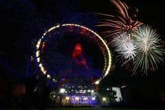 Fuoco d'artificio a Vienna Prater Fotografia Stock