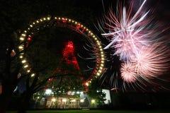 Fuoco d'artificio a Vienna Prater Fotografie Stock