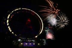 Fuoco d'artificio a Vienna Prater Immagine Stock