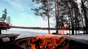 Fuoco dal legno asciutto per il barbecue in una terra della neve coperta di alberi e di lago congelato dietro di bello paesaggio stock footage