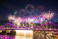 Fuoco del fiume di Brisbane Fotografia Stock