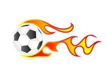Fuoco del pallone da calcio Fotografie Stock