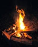 Fuoco dell'accampamento nella notte Fotografie Stock