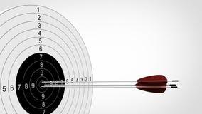 Fuoco delle frecce all'obiettivo di tiro con l'arco illustrazione 3D Fotografie Stock