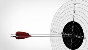 Fuoco delle frecce all'obiettivo di tiro con l'arco illustrazione 3D Fotografia Stock