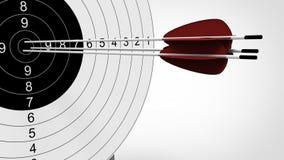 Fuoco delle frecce all'obiettivo di tiro con l'arco illustrazione 3D Fotografie Stock Libere da Diritti
