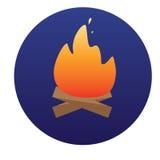 Fuoco di accampamento con l'icona della legna da ardere del vettore Immagine Stock
