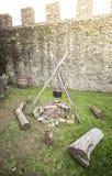 Fuoco di accampamento medievale Immagini Stock Libere da Diritti