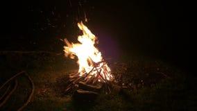 Fuoco di accampamento nella notte video d archivio