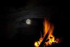 Fuoco di accampamento nella notte Immagini Stock Libere da Diritti