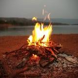 fuoco di accampamento vicino al fiume fotografia stock libera da diritti