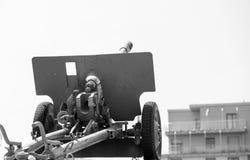 Fuoco di artiglieria nella città Immagini Stock