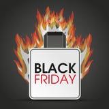 Fuoco di Black Friday del sacchetto della spesa Fotografia Stock Libera da Diritti