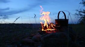 Fuoco di campeggio dopo il tramonto archivi video