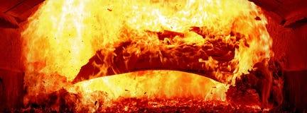 Fuoco di carta dentro la caldaia a vapore Fotografia Stock Libera da Diritti