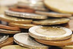 Fuoco di Coins.Soft. Fotografia Stock