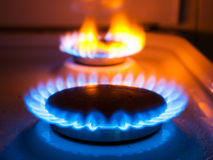 Fuoco di gas in una cucina Fotografie Stock