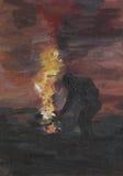 Fuoco di illuminazione dell'uomo in natura, pittura a olio Fotografie Stock