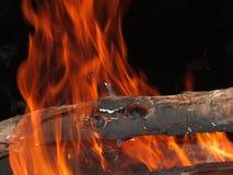 Fuoco e ceppo di legno Fotografie Stock Libere da Diritti