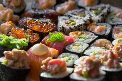 Fuoco molle del primo piano dei rotoli di sushi Immagine Stock Libera da Diritti