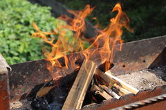 Fuoco nel barbecue Immagini Stock Libere da Diritti