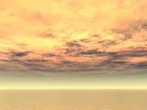 Fuoco nel cielo sopra il mare aperto Fotografie Stock Libere da Diritti