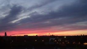 Fuoco nel tramonto del cielo Fotografia Stock Libera da Diritti