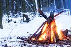 Fuoco nella foresta di inverno Fotografia Stock Libera da Diritti