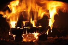 Fuoco nella fornace Fotografia Stock