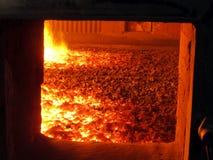Fuoco nella griglia della fornace della caldaia Fotografia Stock Libera da Diritti