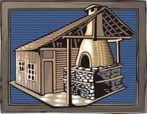 Fuoco Oven Vector Illustration nello stile dell'intaglio in legno Fotografia Stock Libera da Diritti