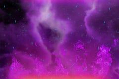 Fuoco porpora di fantasia dinamica astratta e fondo variopinto del fumo con le scintille ed il vapore illustrazione di stock