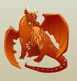 Fuoco respirante del drago medievale rosso Illustrazione piana di vettore, isolata illustrazione di stock