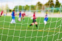 Fuoco selettivo della partita di calcio Fotografie Stock