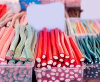 Fuoco selettivo delle bande variopinte dello sweetd della gelatina di Candy Fotografie Stock