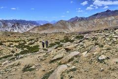 Fuoco selettivo di bello paesaggio variopinto con due turisti dopo la pista in Himalaya, Ladakh, India della valle di Markha immagine stock