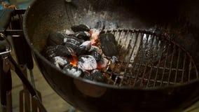 Fuoco selettivo sistemato dei carboni pronto per il barbecue Approvvigionamento, bricchetta fotografia stock libera da diritti