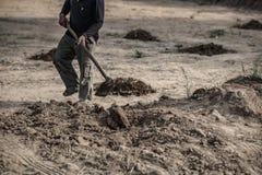 Fuoco selettivo, suolo di vangata dell'agricoltore al lavoro immagini stock libere da diritti