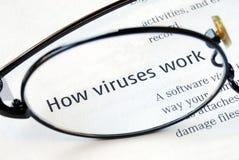 Fuoco su come i virus funzionano Fotografia Stock Libera da Diritti