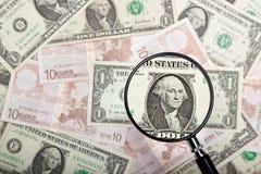 Fuoco su valuta degli Stati Uniti Fotografia Stock Libera da Diritti