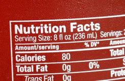 Fuoco sui fatti di nutrizione Fotografia Stock