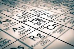 Fuoco sull'elemento chimico del mercurio fotografia stock