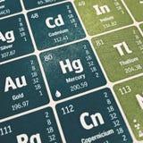 Fuoco sull'elemento chimico del mercurio fotografia stock libera da diritti