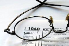 Fuoco sull'imposta sul reddito degli Stati Uniti 1040 Immagine Stock
