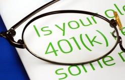 Fuoco sull'investimento nel programma 401K Fotografia Stock