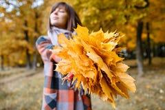 Fuoco sulle foglie gialle Donna castana nel parco di autunno con il cappotto e la sciarpa alla moda del plaid fotografia stock