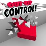 Fuori controllo freccia che attraversa Maze Walls Fotografia Stock Libera da Diritti
