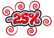 25% fuori da divertimento dell'etichetta Immagine Stock Libera da Diritti
