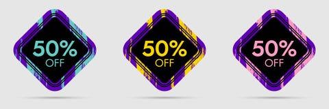 50 fuori dall'autoadesivo di sconto 50 fuori dall'insegna di prezzo di sconto e di vendita Fotografia Stock